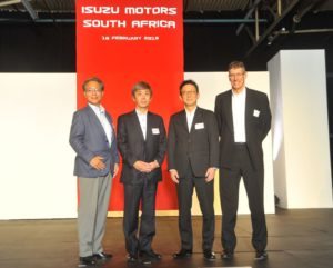 Taking the stage at the official launch of Isuzu Motors South Africa are, from left: The Ambassador of Japan to South Africa, Shigeyuki Hiroki; Isuzu Motors Ltd President and Director Masanori Katayama; Isuzu Motors Ltd Senior Executive Officer and Isuzu Motors South Africa Chairman, Haruyasu Tanishige; and Isuzu Motors South Africa CEO and Managing Director Michael Sacke.