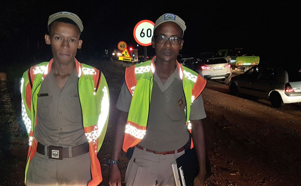 Cop stars: Provincial Inspectors Ontiretse Mogokonyane (left) and Christopher Ditibane from Brits Provincial Traffic – young men setting an example for all traffic officers to follow.