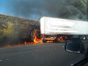 N3 crash: The scene on the N3 when two trucks and a light motor vehicle collided resulting in multiple deaths.