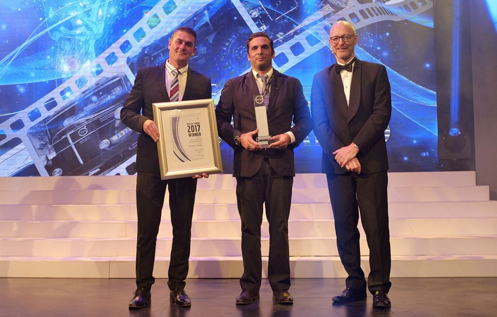 Volvo award: Big time achievers, from left: Theunis Eloff, after sales director of Volvo Group Southern Africa; Tiago Guimaraes, Auto Sueco Namibia Dealership with the Volvo Trucks Developing Markets Dealer of the Year Award; and Torbjörn Christensson, president of Volvo Group Southern Africa.
