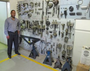 Pretesh Singh, dealer principal of Hino Pietermaritzburg, shows the wide array of special tools that have been purchased to ensure top level service at his dealership. The success of this business in Pietermaritzburg is based largely on parts and service with 100% of absorption coming from service.