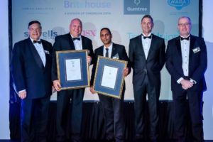 The Commercial Vehicle Dealership finalists at the recent award ceremony at the Kyalami Conference Centre. They are, from left: Flip Wilken, from Wilken Communication Management, one of the sponsors; John Els, dealer principal of Tavcor Commercial Vehicles, the runner-up; Pretesh Singh, dealer principal of Hino Pietermaritzburg, the winner; Bruce Allen, former chairman of the National Automobile Dealers' Association; and Lindon Hett, market leader of Middle East and Africa for Sewells-MSXI.