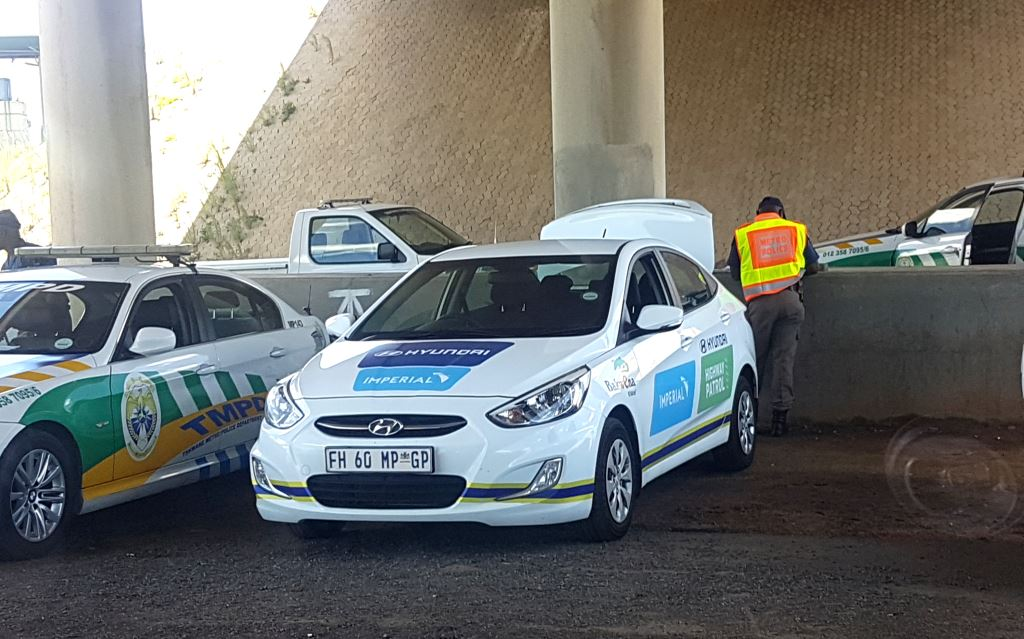 Imperial safety car: One of the six Hyundai Accents provided by Imperial Road Safety and Hyundai Automotive South Africa to the Bakwena N1N4 concessionaire to bolster road safety over the past Easter holiday period.