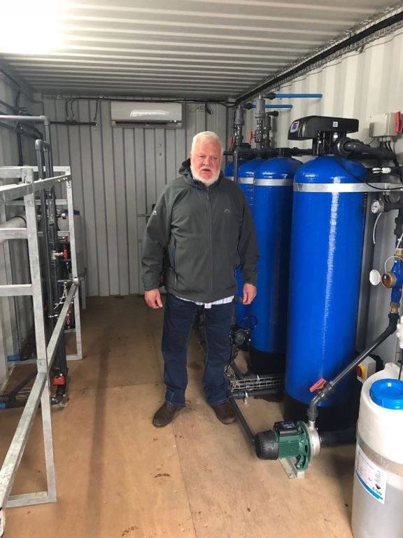 Kobus Pretorius in the water treatment plant which he installed at the Engen False Bay 1 Stop to ensure his customers get top quality water. Now that's going the extra mile.