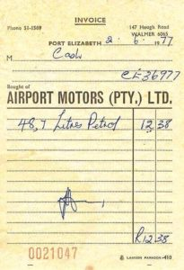 Those were the days. This is a June 1977 cash slip for petrol - 48,7 litres of petrol cost R12.38. It's now June 2018 and you can't get one litre at that price today. I put in 40.30 litres of 95 two days ago in Bloemfontein and it cost R650.05 at R16.13 a litre. Eieeesh! Now think of this in terms of a truck filling up its 600 litre tank with diesel at today's price. It's become scary!