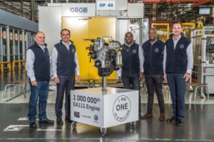 Standing together to achieve greatness for South Africa, from left: Richard Reid, unit head, Engine Plant; Jens Bruecker, director, production; Zama Silo, NUMSA shop steward; Zuko Adams, NUMSA shop steward; and Thomas Schaefer, chairman and managing director of Volkswagen South Africa.