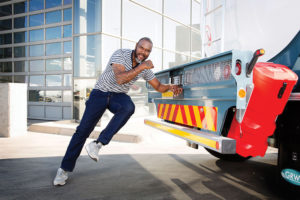 Brian Baloyi, former Bafana Bafana goal-keeper and Kaizer Chiefs goal-keeper coach, has a passion for saving lives on our roads and is the face and Ambassador of the 'Your Truck Your Gym' campaign. Here he demonstrates just one of the over 60 exercises contained in the programme.