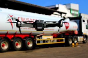 This little drone has been used to help guide the driver of the massive rig in the background to where he has to go.