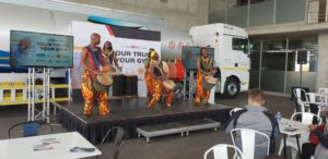 The launch of the 'Your Truck Your Gym' campaign was a vibrant function attended by some 125 people from a broad spectrum of the industry comprising partners, suppliers, truck operators and truck drivers. Here energetic drummers get the gym rolling.