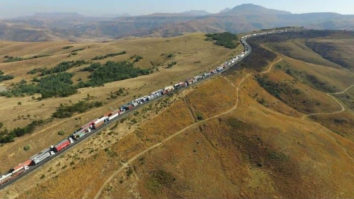 The scene on Van Reenen's pass on June 20th when trucks were backed up 10 kms during a truck blockade to protest against the employment of foreign drivers.
