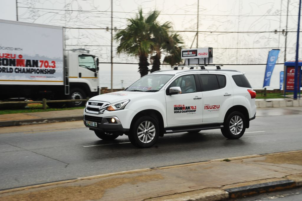 Isuzu vehicles in action during the IRONMAN 70.3 World Championship event held in Nelson Mandela Bay. The recently launched mu-X was the lead timing vehicle while refrigerated trucks ensured athletes were kept hydrated.
