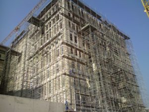It is to building sites all over Gauteng - such as this one in Hatfield - that the two Hino 15-258 models haul scaffolding and have been doing so reliably for the past 12 years.