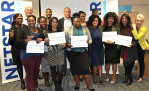 The Netstar learnership programme employees with Mike Borello, Netstar operations executive (far left) and Pierre Bruwer, Netstar group managing director (centre).