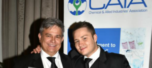 A proud Vic Ferreira, (left) executive managing director of Reef Tankers and his son Wesley Ferreira after receiving the 2018 CAIA Responsible Care Haulier Award at a function held in Johannesburg earlier this week.