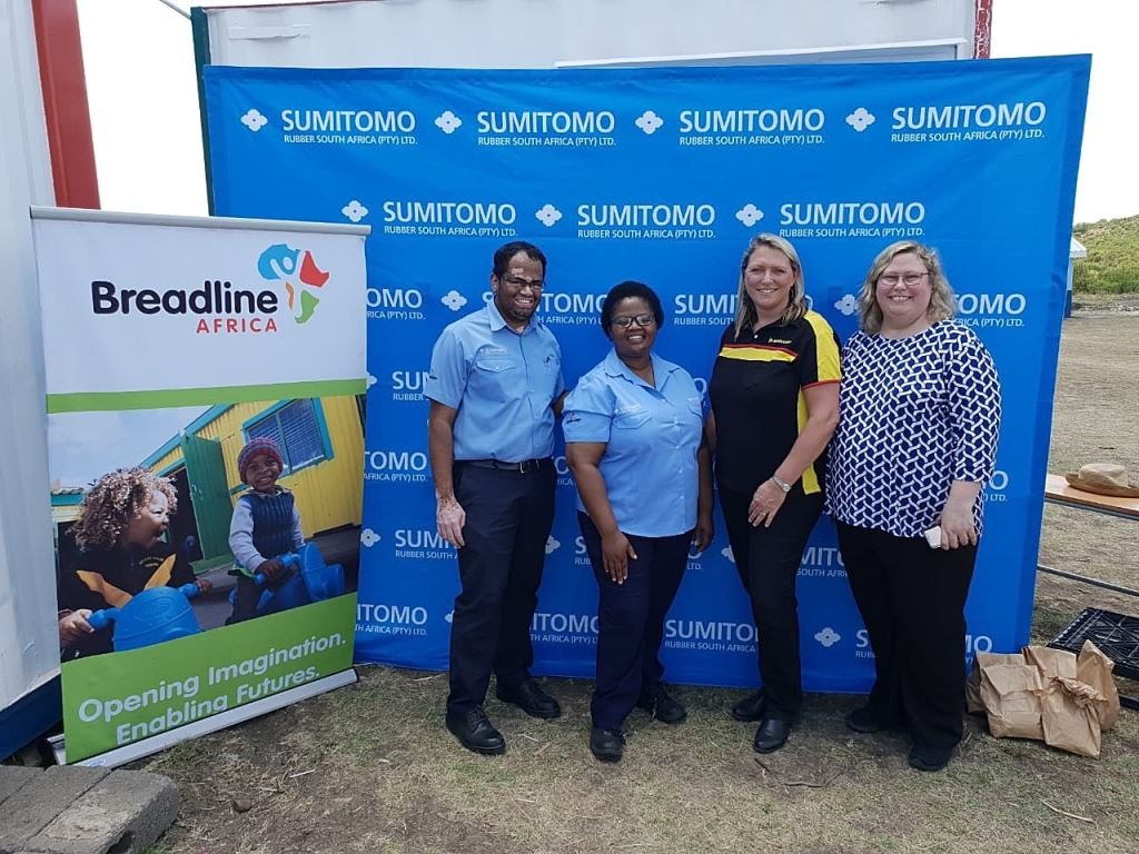 Pictured at the handover of the refurbished 12m shipping container are, from left: Udaiyappan Ulagappan, SRSA factory director (Ladysmith); Thandiwe Mdunge, manager: Training & Development, Ladysmith; Joanne de Freitas (SRSA Manager: PR & Events); and Melanie Jackson (Breadline Fundraiser).