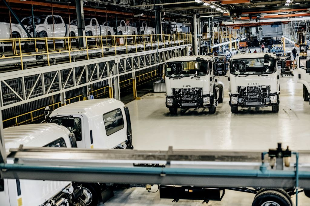 Manufacture of Isuzu bakkies (top left of the picture) and trucks now takes place under one roof in Port Elizabeth.