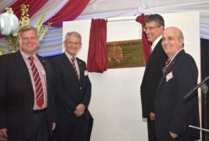 Officially unveiling the plaque of the new Isuzu Truck Service Centre in Durban are from left: Glynn Crookes, Managing Director, Key Durban South; Paul Emanuel, Key Group Chairman; Michael Sacke, MD and CEO of Isuzu Motors SA; and Tony da Silva, Managing Director of Key Hire
