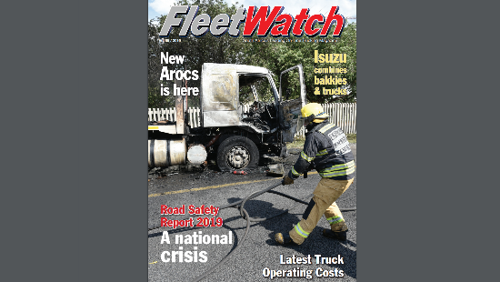 The cover of the FleetWatch magazine containing the feature titled: Road Safety Report 2019 – a National Crisis.
