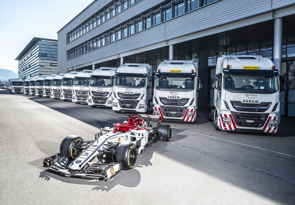 IVECO is now the official truck partner of the Alfa Romeo Racing team. The company recently handed over no less than 12 Stralis trucks and a Daily van which will be used to transport the team's equipment to all the Formula One European Grand Prix venues throughout the upcoming season. C'mon, admit it. Those trucks look far better than that little dinky-toy in front.