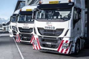 A fitting partnership - Iveco and Alfa Romeo Racing. You're probably going to get a lot of spectators ignoring the Formula One cars racing round the tracks and going to the back of the pits to check out these beauties.