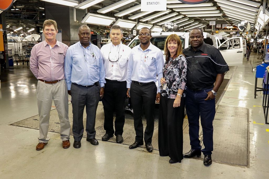 Seen at the Isuzu production plant, from left: Sean Waller, Autoworld Dealer shareholder; Dr Dawson Mareya, MD of Willowvale Motor Industries; Johan Vermeulen, Isuzu Executive Manufacturing and Supply Chain; Honourable Minister Nqobizitha Mangaliso Ndhlovu, Zimbabwean Minister of Trade and Industry; Denise van Huyssteen, Executive Corporate Affairs, Business Strategy and Legal; and Paul Chenierayi Autoworld Dealer shareholder.