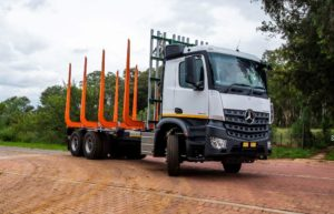 Introduced to the market earlier this year, the Mercedes-Benz Arocs - seen here in a timber application - will be making its agricultural debut at this year's NAMPO.