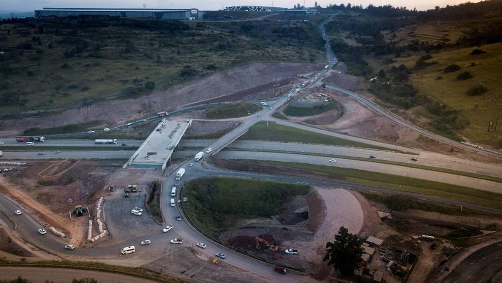 Aerial view of construction works on the N3 at Hammarsdale, KwaZulu-Natal.