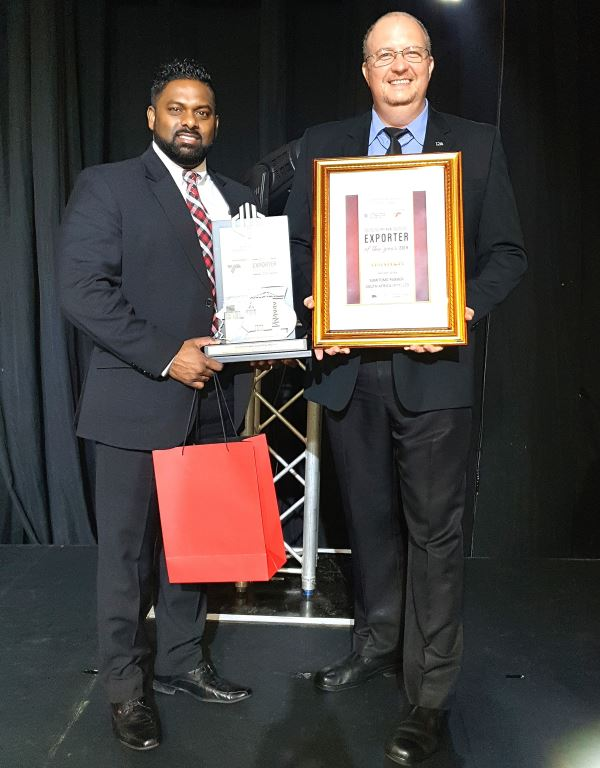 Sumitomo Rubber South Africa wins again at the KZN Exporter Awards. Seen with the awards are Ian Pillay (left), group manager: sales (International Business, West and Central Africa) and Riaan Rix, group manager: sales (International Business, East and southern Africa).