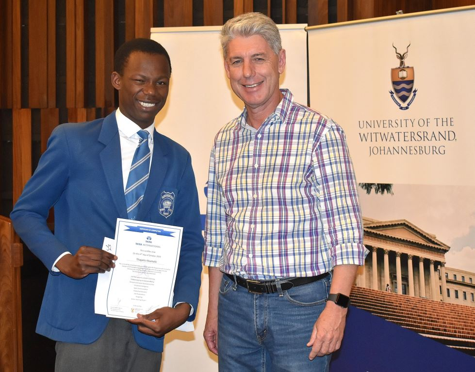 Len Brand, Executive Director of TATA International in Africa with a proud Thapelo Nxumalo from Alexandra High School who gave a highly impressive speech titled 'Having a Voice' at the certificate ceremony.