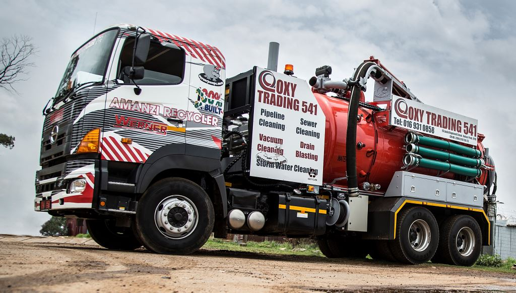 This magnificent unit started out as a Hino 700 2838 6x4 chassis cab and working together, Hino Isando and Werner Pumps & Equipment have produced South Africa's first working water recycling truck. It's an amazing rig.
