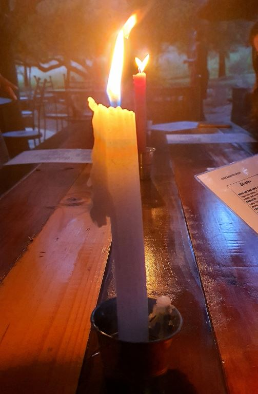 The romance of a candlelight dinner during an Eskom power blackout is totally destroyed when you are hit under your chin by a 1 400 degree C candle flame while trying to lean over the table to woo your loved one.