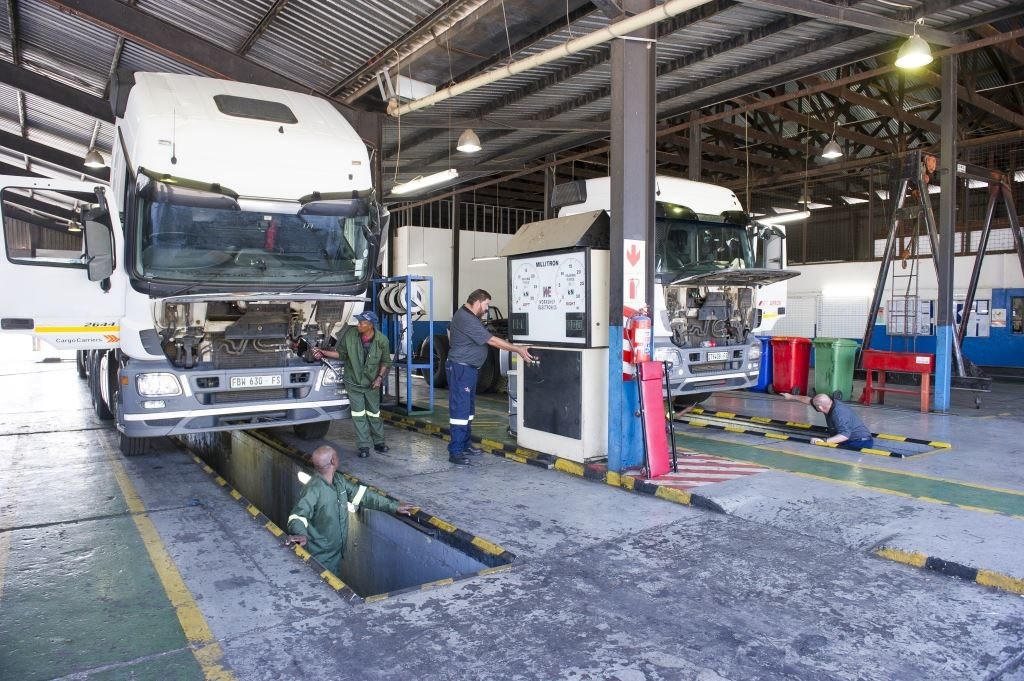 Apprentices get to train at the coal face at Cargo Carriers which include the workings of a brake roller tester.