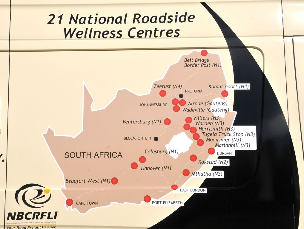 A map shows the 21 trucking wellness centres spread nationally throughout the country. Harnessing this resource will be invaluable to the country's plans to reach herd immunity.