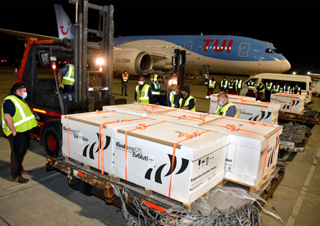 The first batch of the 80 000 doses of the Johnson & Johnson vaccine are offloaded at OR Tambo airport.