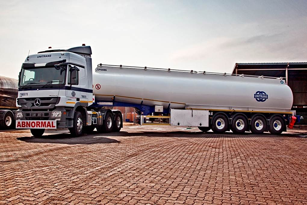 A PBS Unitrans quad axle tanker. The PBS trials have embraced a number of sectors in the trucking industry.