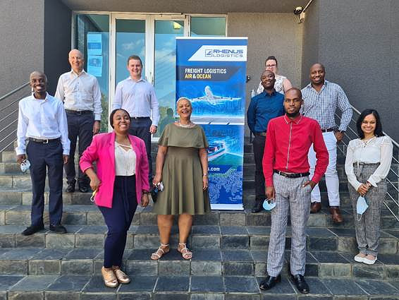 Rhenus is playing its role in the fight against South Africa's 'unemployment pandemic'. From left to right: Romeo Miya, YES Candidate; Dirk Goedhart, MD Rhenus South Africa; Muvhulawa Thovhakale, YES Candidate; Louwrens Groenewald, Warehouse Admin Supervisor and Mentor to Romeo; Charmaine Dickson, Admin Manager and Mentor to Muvhulawa; Nelson Ranaana, YES Candidate; Natasha de Kock, Air Freight Manager and Mentor to Nelson; Thebe Kganane, YES Candidate; Ebenezer Simba, Trade Lane Manager and Mentor to Thebe; Praveshnee Naidoo, Human Resources Manager Rhenus South Africa