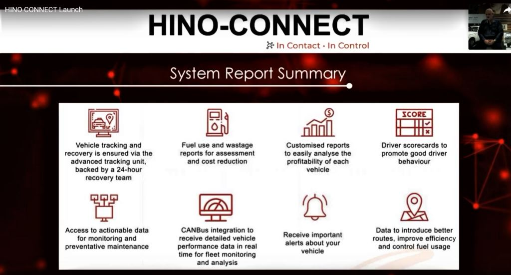 A system report summary of what operators can expect from the new Hino Connect system.