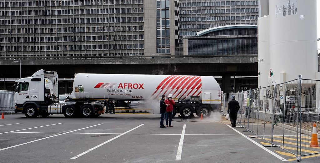 Afrox trucks have been playing a vital role in the fight against COVID supplying Oxygen and other medical gases to hospitals and clinics across South Africa since the start of the national Covid lockdown. In this picture, an Afrox rig is seen delivering the 'first-fill' of two bulk Oxygen tanks installed at the Cape Town International Convention Centre COVID-19 field hospital.