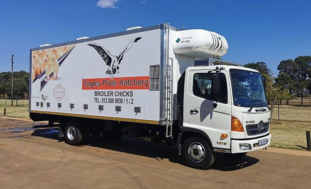 One of Serco's newly built vehicles used to transport day old chicks for Eagles Pride Hatchery.
