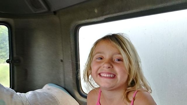 Pure happiness for Haley-James spending time with dad in his truck.
